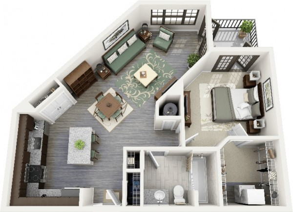 1 bedroom 3D ideas (22)