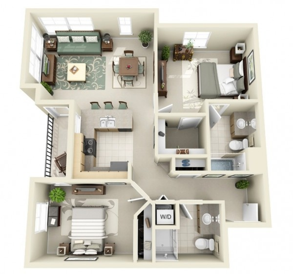 2 bedroom 3d ideas (22)