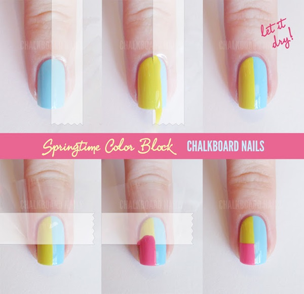 diy nail art with tape (1)