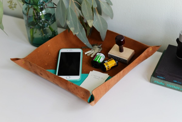DIY-leather-catchall-storage