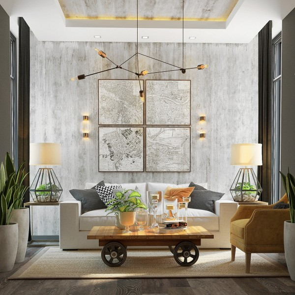 stylish and beautiful livingroom with concrete (1)